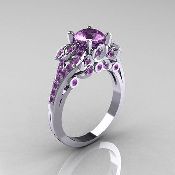 Classic 14K White Gold 10 CT Lilac Amethyst by artmasters on Etsy