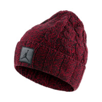 Jordan Heathered Cable Knit Hat, by Nike (Red)