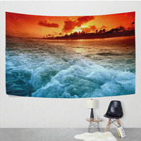 Sunset Seaside Wave Tapestry Wall Hanging  Beach Ocean Nature Landscape Hippie Boho Wall Decor Art for Living Room Bedroom Dorm