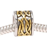 22K Gold Plated Celtic Knot Silver Tone Bead - Fits Pandora (1)