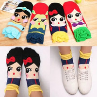 Cute Kawaii Socks, Disney Princess Cotton Socks for Women,Snow White,Little Mermaid,Women Accessories,Cartoon Socks,Slip Socks,Ankle Socks