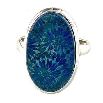 Blue Fossilized Coral Sterling Silver Ring