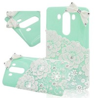 Seedan Mint Green Pearl Lace Flower Case for LG G3 Bling Diamond Bow Design Hard Back Cover Shield Protective Skin