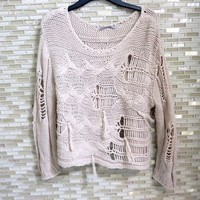 Distressed Tassel Sweater Knit Pullover Sweatshirt