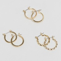 ASOS DESIGN pack of 3 20mm hoop earrings in gold at asos.com
