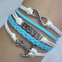 Lovers Bracelet -- true love bracelet, antique silver anchor and loving heart,unlimited white and blue wax rope braided leather bracelet