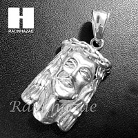 Mens Hip Hop Stainless steel Silver Jesus Face Pendant SS003
