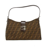 Authentic Fendi Zucca FF logos nylon & Brown leather shoulder bag purse