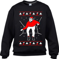 Ugly Christmas Jumpers Black Hotline Bling Sweater (Red Print)