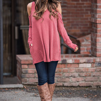 Over the Moon Ribbed Cold Shoulder Tunic (Dark Salmon)