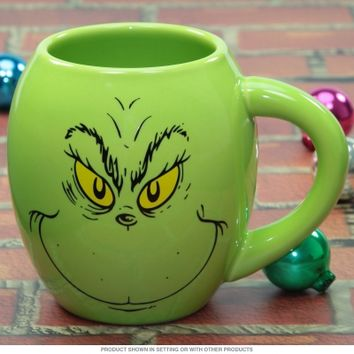 Merry Grinchmas Grinch Face Oval Holiday Coffee Mug