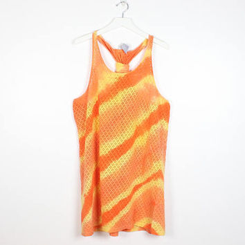 Vintage 90s Dress Orange Yellow Tie Dye Striped Sheer Mesh Dress Racerback Open Weave Knit 1990s Bach Cover Up Mini Sundress XL Extra Large