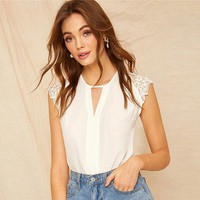 Keyhole Neck Lace Cap Sleeve Elegant Top Blouse Women Solid Cut out Office Lady Workwear Tops Blouses