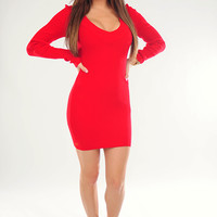 The Simple Life Sweater Dress: Red