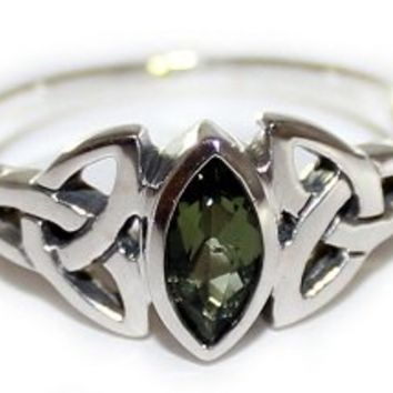 Faceted Moldavite Ring Triple Knot Triquetra 925 Sterling Silver Sizes 4-12
