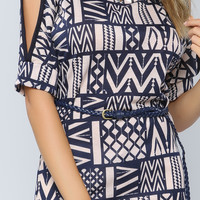 Cutting Shoulder Graphic Belted Top
