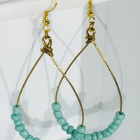 Turquoise and Gold Teardrop Earrings, Dangle Earrings