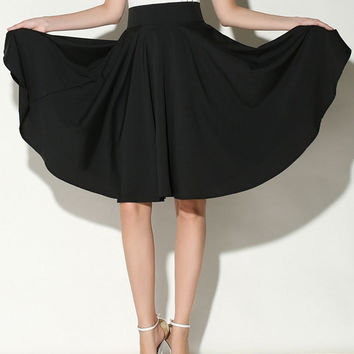 Black High Waist Midi Skater Skirt