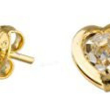 Two Year Warranty 18k Gold Overlay Heart with Clear and Pink Stone Stud Earring Set