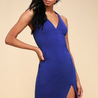 Aglow Royal Blue Bodycon Midi Dress