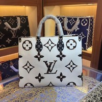 LV Louis Vuitton WOMEN'S MONOGRAM CANVAS ONTHEGO HANDBAG-KUYOU