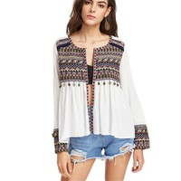 Blouses for Women Embroidered Yoke and Cuff Coin Fringe Trim Blouse Women Long Sleeve High Low Blouse