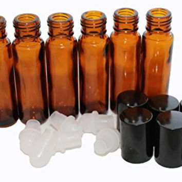 Oil Roll On Bottles for Essential Oils*Amber Glass*With Metal Funnel, Carrying Case and Labels* 6 10ml Roller Ball Bottles for Aromatherapy*Black Caps