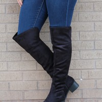 Over the Edge - Knee High Boot in Black