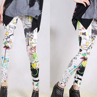Lady's Punk Funky Sexy Leggings Stretchy Tight Pencil Skinny Pants