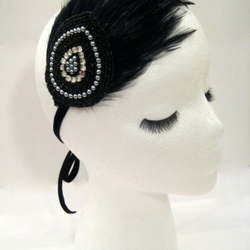 The Evelyn - 1920s feather headdress, flapper fascinator, feather headband, Great Gatsby party, burlesque headpiece, black sequin headband