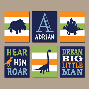 DINOSAUR Wall Art Dinosaur Decor Baby Boy Nursery Wall Art Dino Theme Big Boy Bedroom Dream Big Little Man Roar Set of 6 Prints Or Canvas