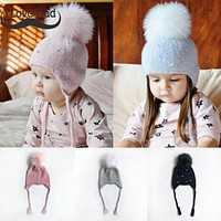 Cute Kids Hat Baby Girl Hat Beanie Winter Warm Knit Hats Cap Children Girls Pompom Caps Bonnet Beanies born Baby Muts