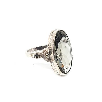 Clark and Coombs Art Deco sterling silver large faceted stone antique ring size 5