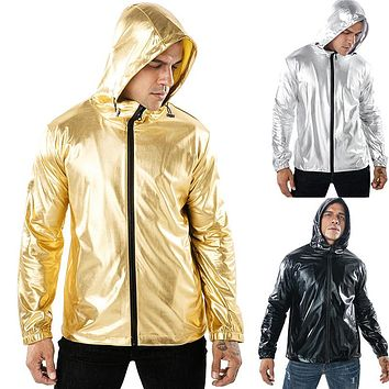 Men's Solid Color Bronzing Fabric Sports Hooded Jackets