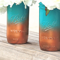 Teal and copper ombre painted mason jar, tall mason jars, mason jar vase, wedding mason jars, jade mason jar, home decor jar