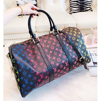 LV Louis Vuitton Fashion New Multicolor Monogram Print Leather Travel High Quality Handbag Shoulder Bag