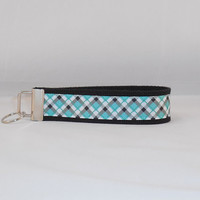 Aqua and Black Plaid Keychain Wristlet Great For Inexpensive Gift Or Stocking Stuffer