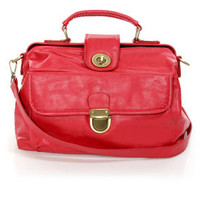 Red Leather Day Structured Red Handbag