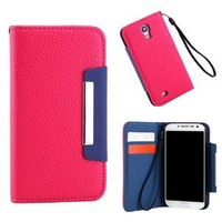 GEARONIC Samsung Galaxy S4 PU Faux Leather Case Wallet Premium Magnetic Wallet Case Folio Flip Cover for Galaxy S IV Galaxy SIV i9500 - Hot Pink