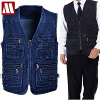 MEN'S Autunm casual Cotton Denim Vest coat for men jacket Multi Pocket Mens vest Blue