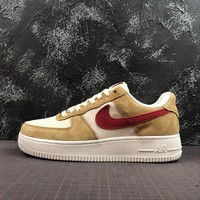 Nike Air Force 1 AF1 Low Denim Pack Jersey Gold / Sport Red-White Shoes - Best Online Sale