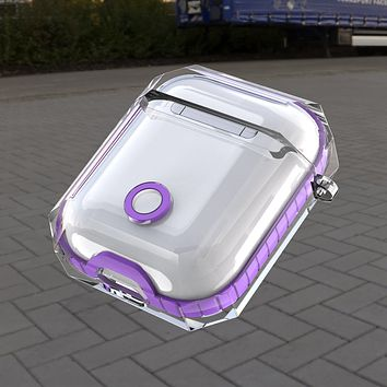 For Apple Airpods 1st & 2nd Generation Clear Candy Bumper Shock Proof Protective Slim Fitted Case Cover- Purple
