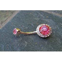 Pink Rose Gold Belly Button Ring