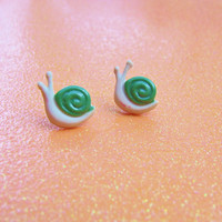 Subtle Green Cream Snail Stud Earrings - Custom Colors Available - Polymer Clay Earrings - Hypoallergenic Nickel Free