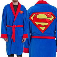 Superman - Logo Cotton Bathrobe (Color: Blue) = 1946711492