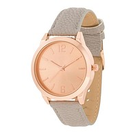 Geneva Rose Gold Stainless Steel and Grey Leather Watch
