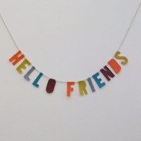 Hello Friends banner wall hanging, party banner, wedding garland, red, teal, grey, yellow, dark brown