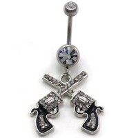 Western Cowgirl Dual Revolver Pistol Gun Dangle Belly Button Navel Rings Body Fashion Jewelry 14 Gauge