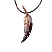 Feather Necklace, Mens Feather Necklace, Native American Inspired Feather Pendant, Wood Feather Necklace, Wood Feather Pendant, Mens Jewelry