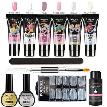 Poly UV Gel Manicure Set Extend Builder Poly Nail Gel Kits Finger Nail Extension LED Acrylic Builder Gel Nail Lamp Crystal Jelly